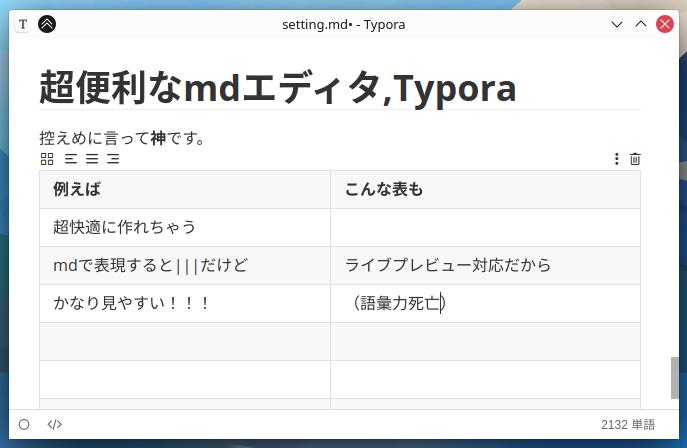 【Win,Linux,Mac対応】超快適なマークダウンエディタ(メモ帳)、Typora